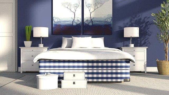 kostkovaný vzor postele